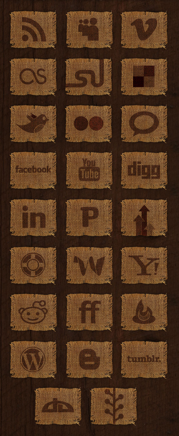 26 Woven Fabric Social Media Icon Set